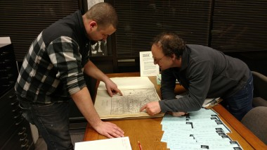 Prof. Millman studying ariel maps with student